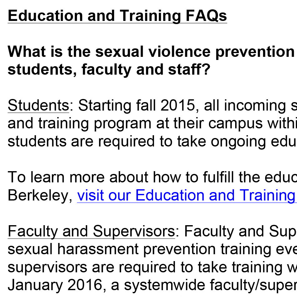Education and Training FAQs